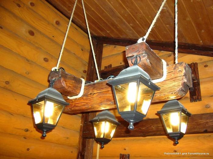 Лампа из бревна своими руками