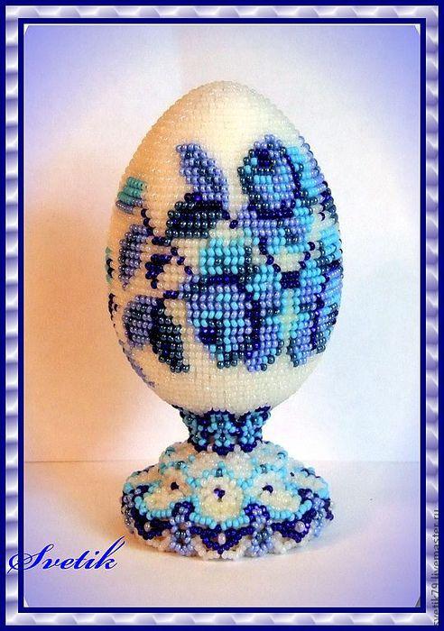 "Бисерное яйцо ""Гжель "" Схема"