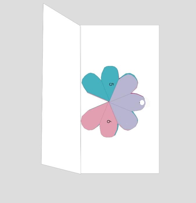 Как сделать внутри открытки объемный цветок 612