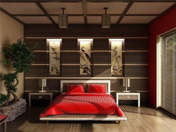 Спальня в спальня в японском стиле в