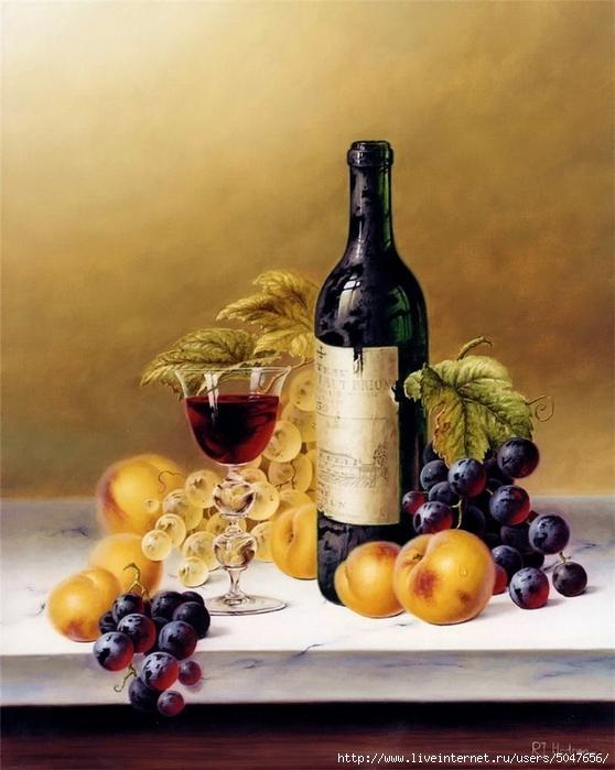 Roy Hodrien_картики для декупажа_натюрморты_фрукты_вино_07 (558x700, 254Kb)
