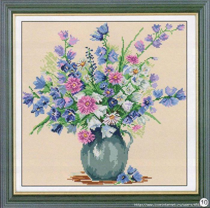 Схемы вышивок ваз для цветов 119