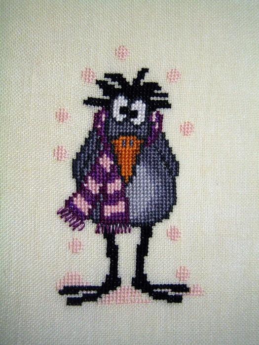 Схема для вышивки крестом ворона