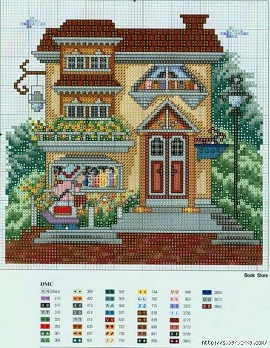 Схема вышивки домик на ливинтернет