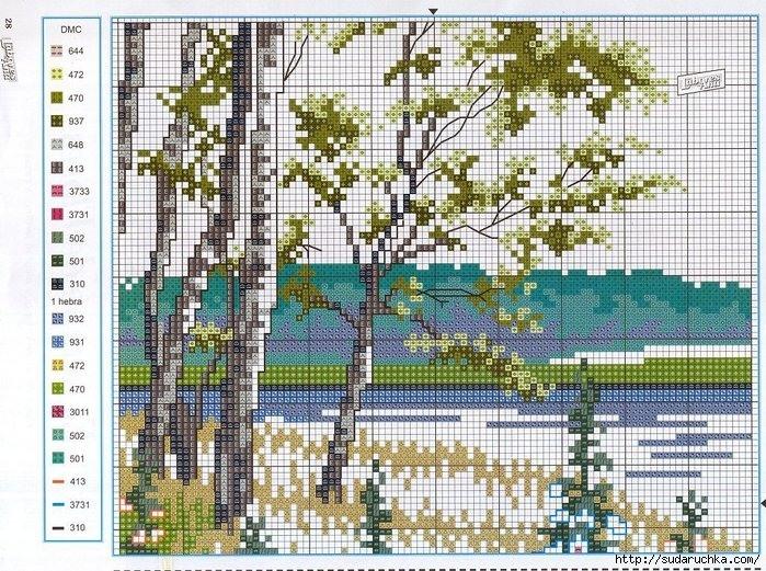 Схема пейзаж крестиком