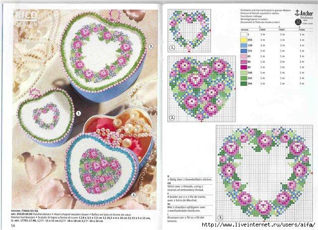 Шкатулки сердечками вышивка