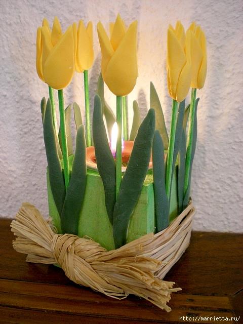 декорирование подсвечника тюльпанами из холодного фарфора (12) (480x640, 221Kb)