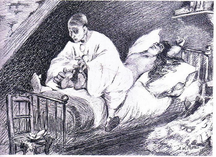 9 1888. Пьеро щекочет Коломбину до смерти. Adolphe Willette (1857–1926) (700x509, 232Kb)