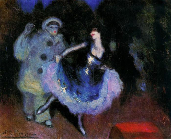 16 Pierrot et Colombine. Pablo Picasso 1900 (700x569, 159Kb)