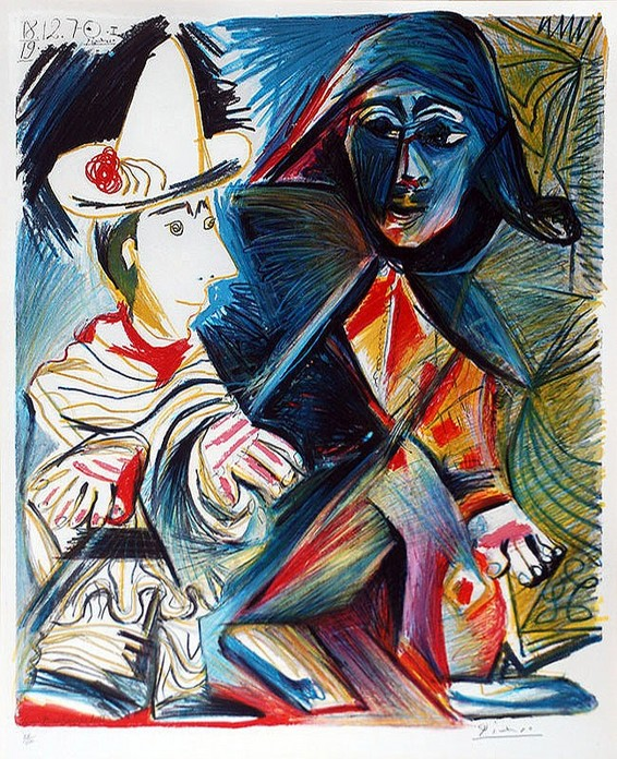 21 Пабло Пикассо. Пьеро и Арлекин. 1970 (566x696, 177Kb)