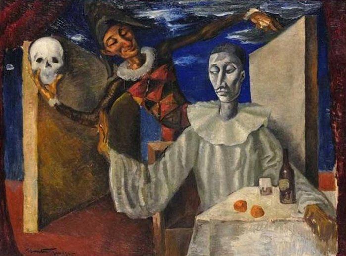 28  Montenegro, Roberto. Skull Pierrot (1945) ТЕКСТ (700x516, 74Kb)