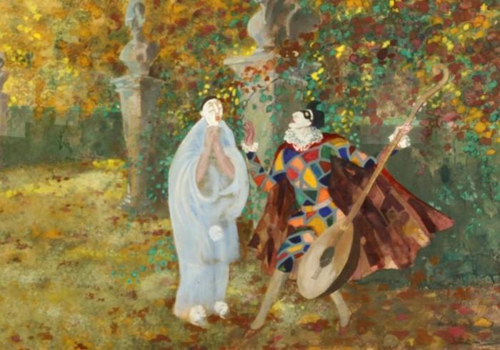 30 Leal da Cаmara (1876-1948) - Harlequin and Pierrot, фрагмент (700x490, 91Kb)