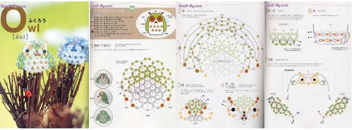совенок из бусин. схема для плетения совы.