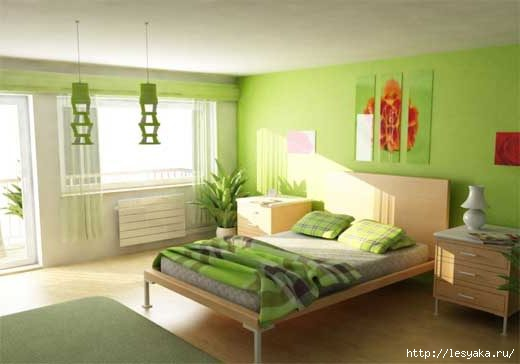 Green paint bedroom