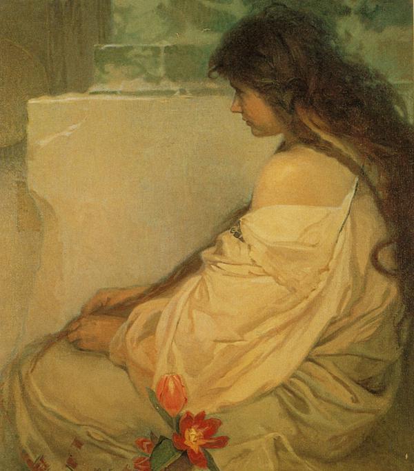 Девушка с распущенными волосами и тюльпанами. 1920 (600x683, 57Kb)