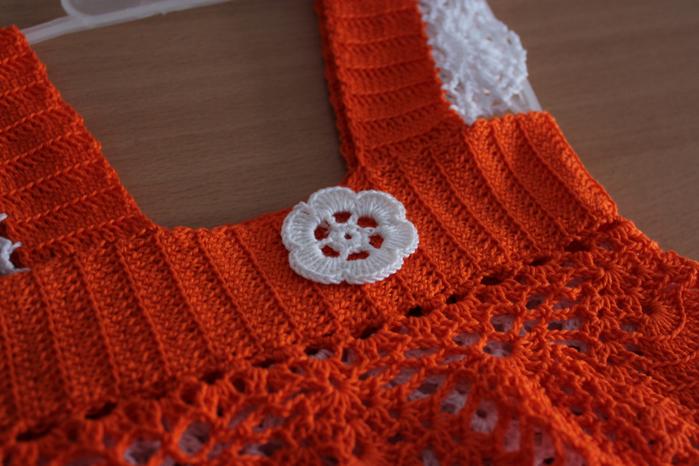 """钩针:儿童吊带裙""""橙花"""" - maomao - 我随心动"""