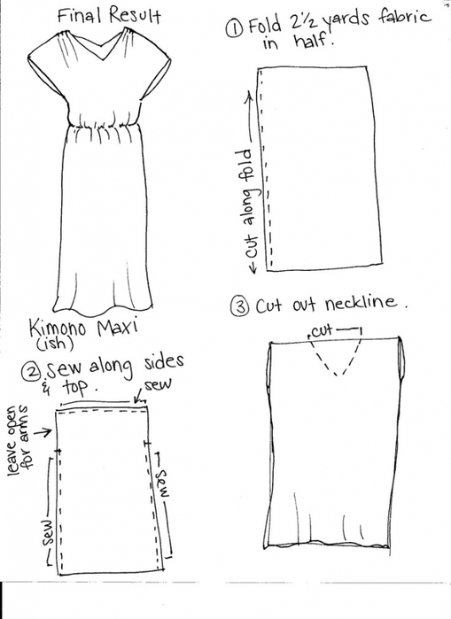 Выкройка платья кимоно для полных 1