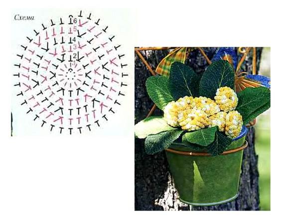 вязание объемных цветов крючком.