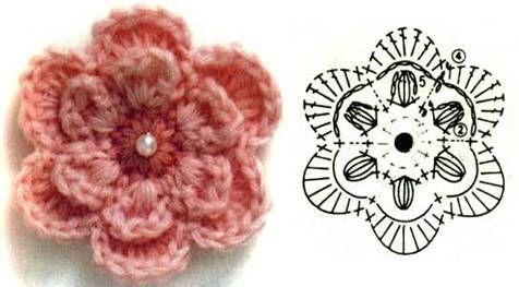 Вязание крючком цветочек 42