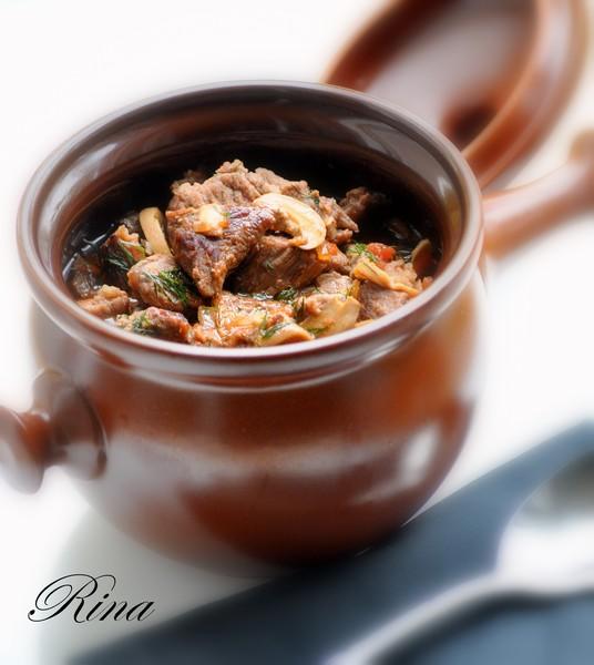 Рецепт говядина тушеная в горшочке