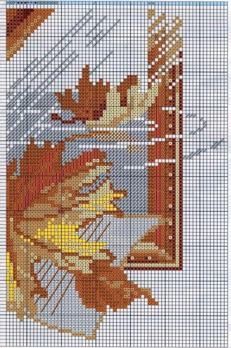 """Схема вышивки крестом  """"Саксофон с кленовыми листьями """" (Riolis) ."""