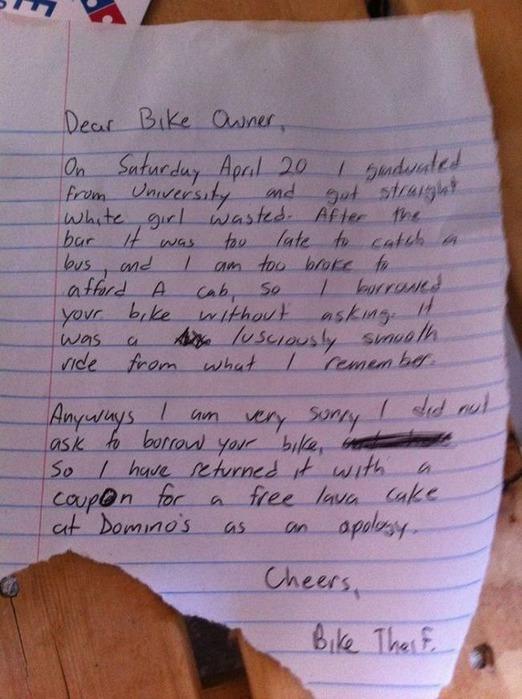 Записка от велосипедного вора Фотографии