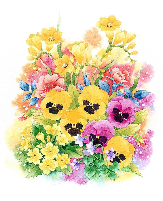 цветочные акварели Ибараги Йосиюки 18 (566x700, 150Kb)