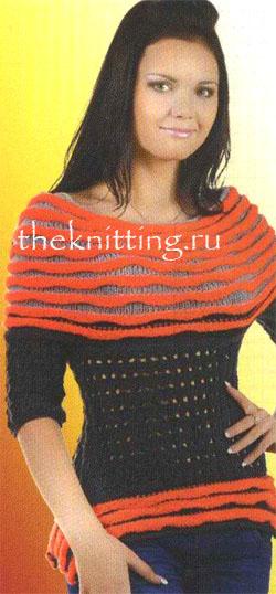 Свитер с кокеткой и баской. http://theknitting.ru/knittingfashi...sami_shemy.html.