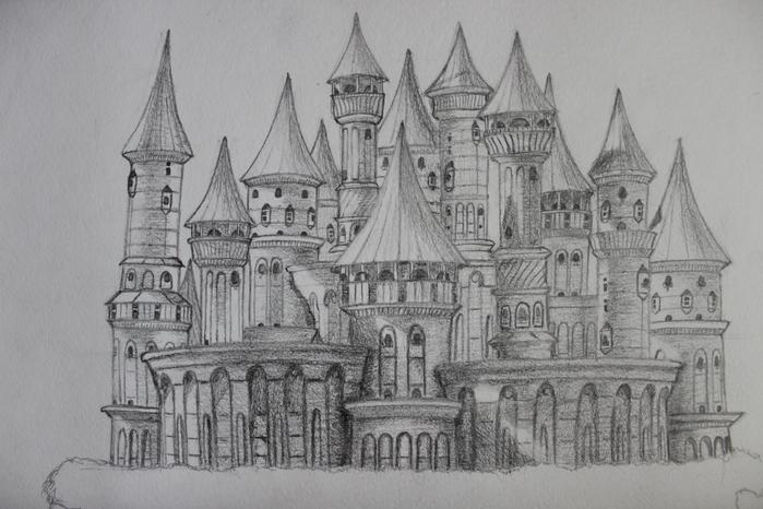 рисунки кирпичный замок