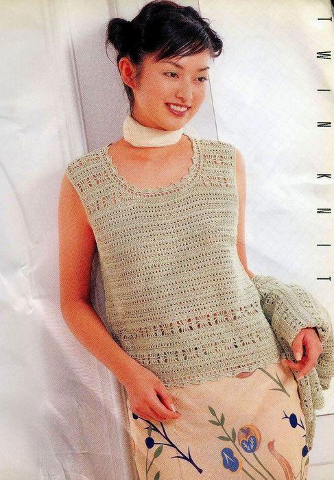 Вязание кофта из льна спицами