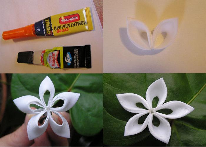 Как сделать на заколку цветок