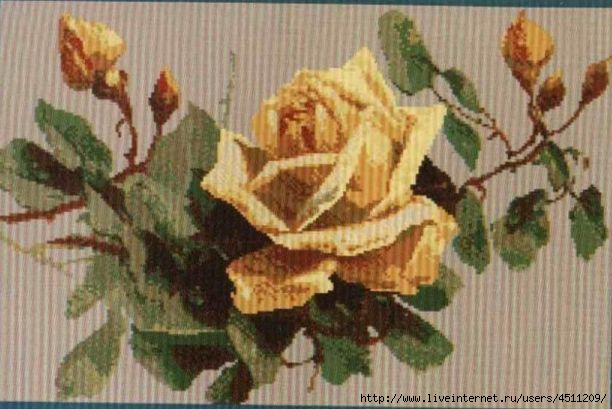 Желтая роза. Вышивка крестом.