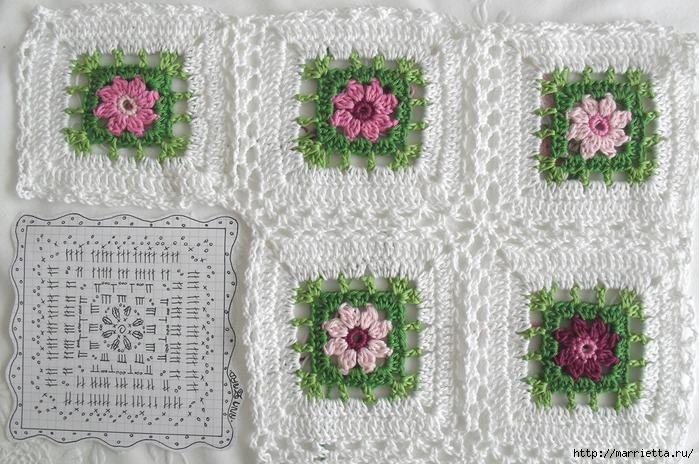 Вязание крючком. Очень нежная подушка Цветы в саду (6) (700x464, 277Kb)
