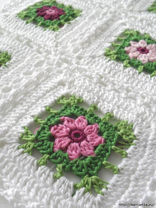 Вязание крючком. Очень нежная подушка Цветы в саду (8) (525x700, 224Kb)