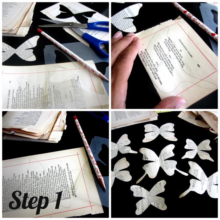 Венки с бабочками из газет, нотных и книжных страниц. Винтажные идеи (19) (700x700, 337Kb)