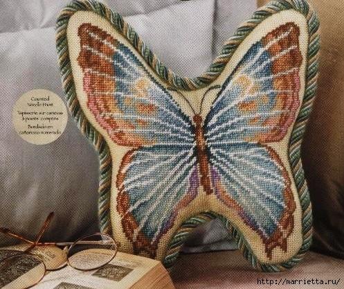 подушка бабочка, схема вышивки крестиком (5) (497x417, 199Kb)