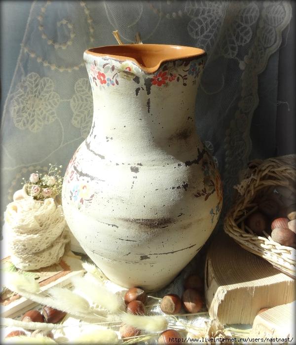 Декупаж на глиняный кувшин