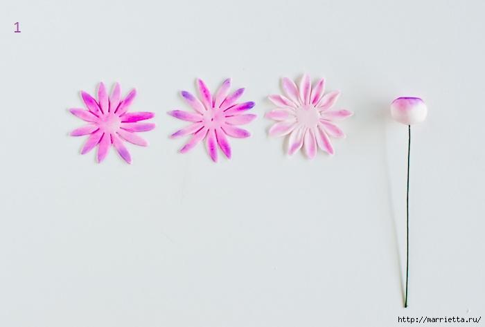 Хризантемы и георгины из сахарной мастики для украшения торта (7) (700x473, 85Kb)