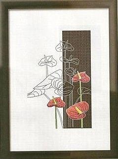 Серия цветов черно-белое-красное(вышивка крестиком).  Прочитать целикомВ.