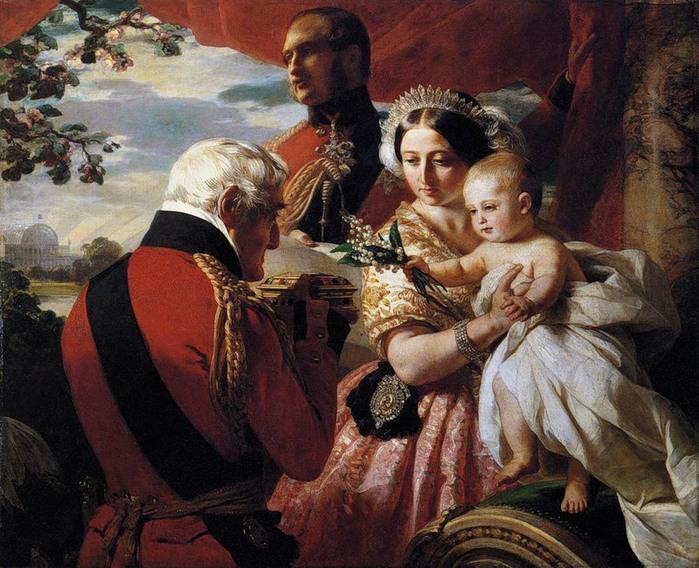 Франц Винтельхальтер. Королева Виктория с сыном, принц Альберт, герцог Веллингтон (700x568, 141Kb)