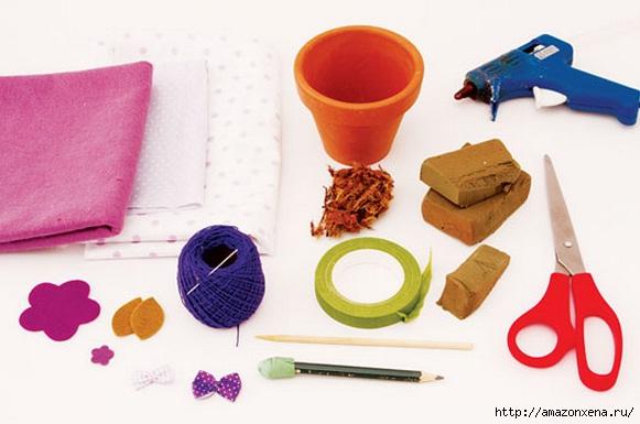 Цветы из ткани. Цветочные топиарии для украшения интерьера (2) (581x385, 111Kb)