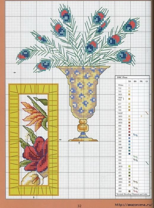 Отличный журнал вышивки Marie Barber - Cross-Stitch Florals (26) (520x700, 331Kb)