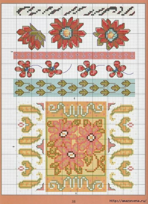 Отличный журнал вышивки Marie Barber - Cross-Stitch Florals (32) (507x700, 358Kb)