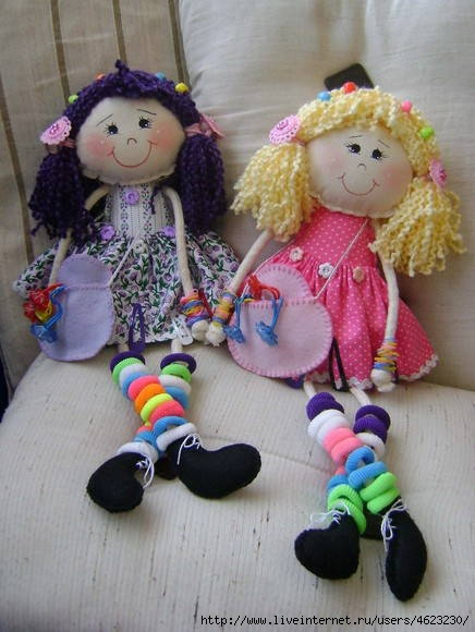 Кукла для резинок и заколок своими руками