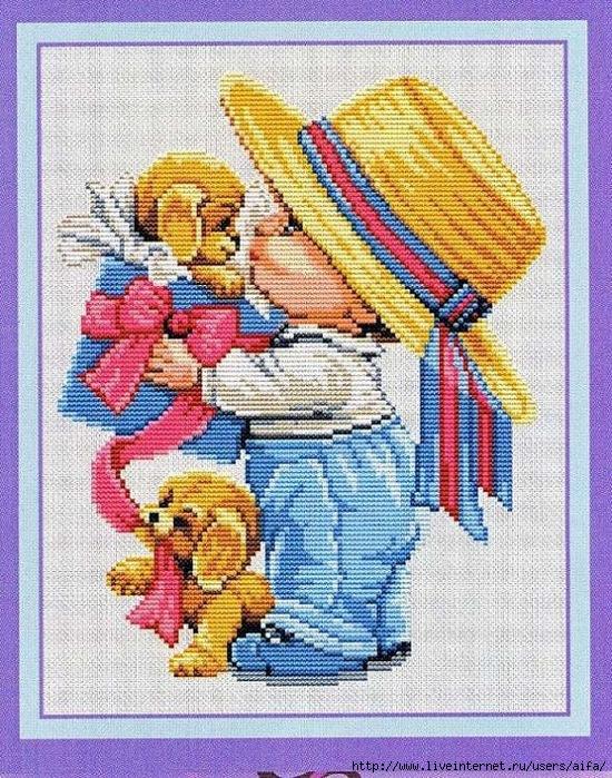 Схемы вышивки крестом девочка и мальчик 61