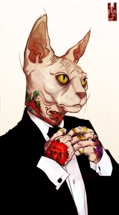Рисунки коты в костюмах
