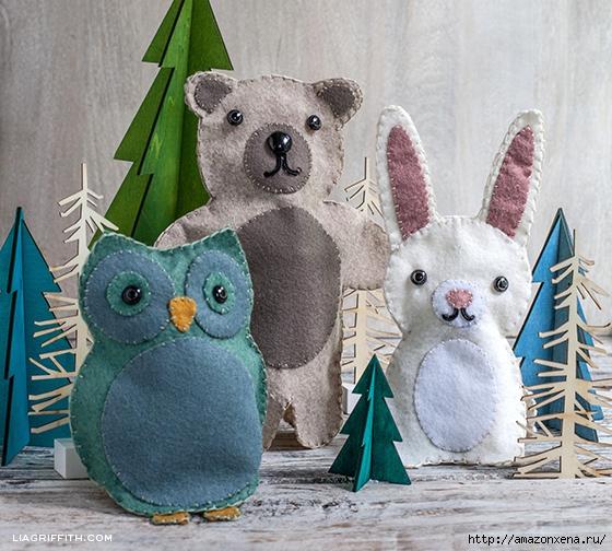 Игрушки из фетра. Выкройки совы, зайца и мишки (10) (560x504, 267Kb)