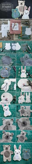 Игрушки из фетра. Выкройки совы, зайца и мишки (12) (139x700, 105Kb)