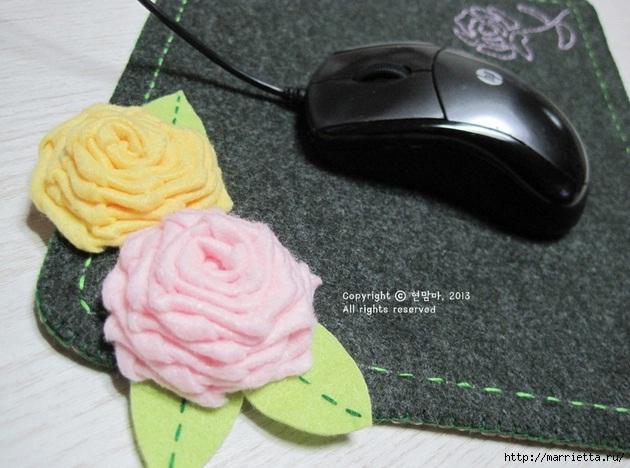 Шьем подставку для компьютерной мыши, из сукна с цветами из фетра (2) (630x468, 179Kb)