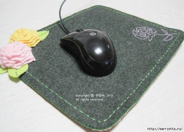 Шьем подставку для компьютерной мыши, из сукна с цветами из фетра (4) (633x453, 168Kb)